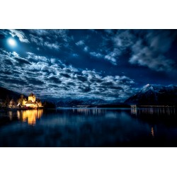Oberhofen Castle with Moon